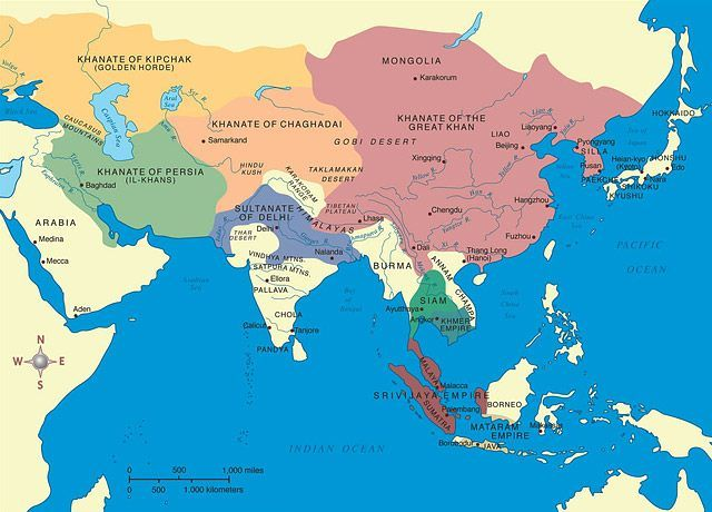 mongol empire map and its contemporary powers in the region