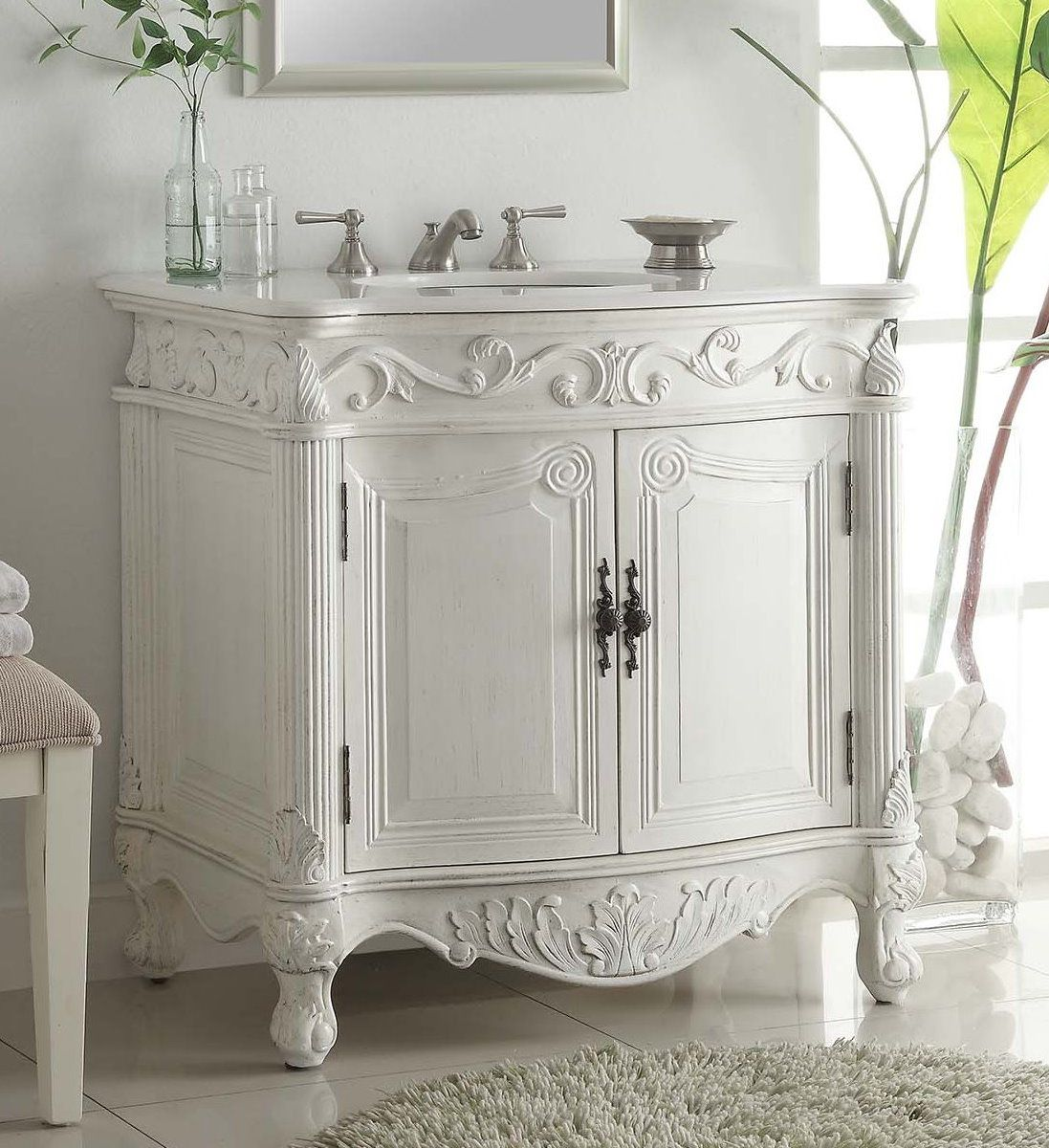 32 Inch Adelina Antique Bathroom Vanity White Finish With Images