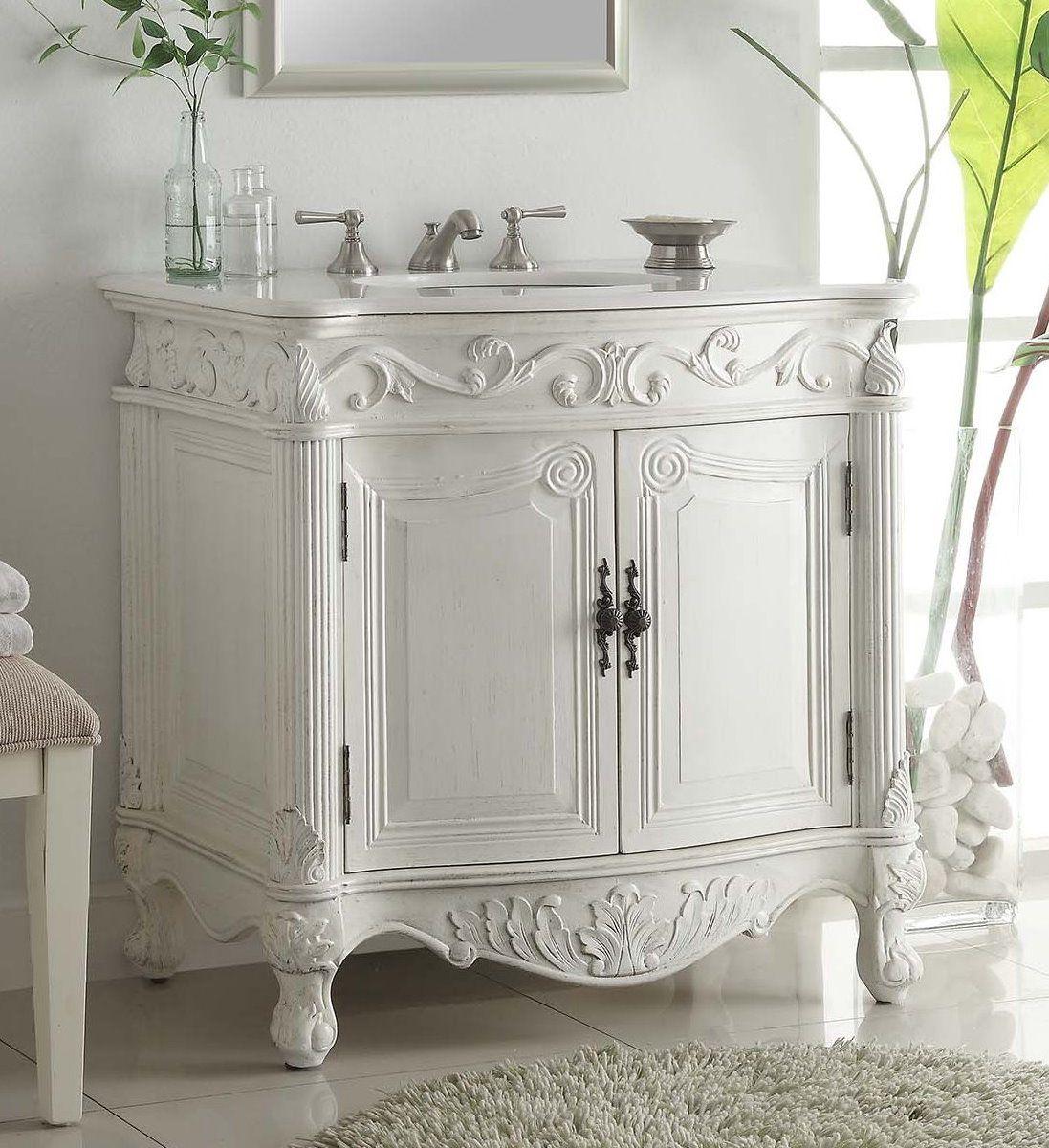 Adelina 32 Inch Antique Bathroom Vanity White Finish Victorian