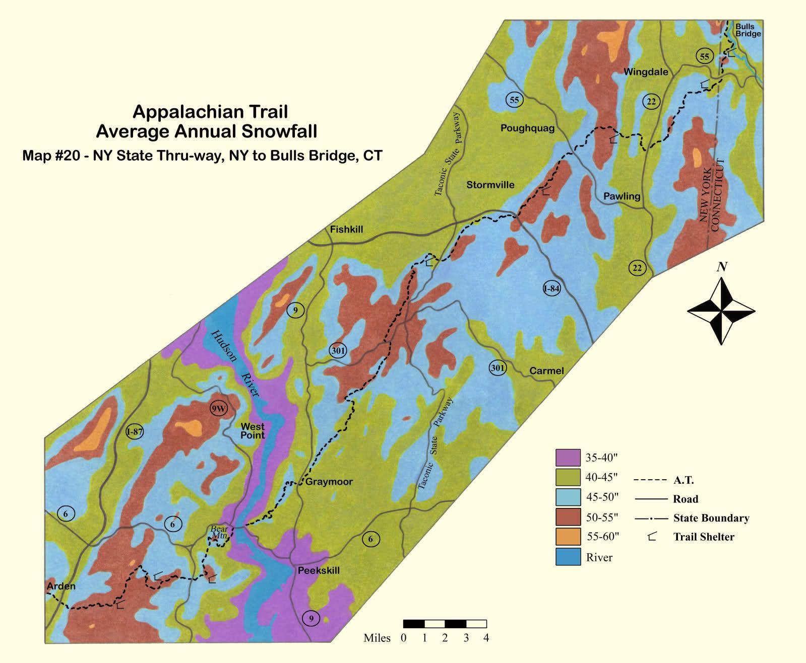 Appalachian Trail Average Annual Snowfallstart Early In The - Average annual snowfall map us