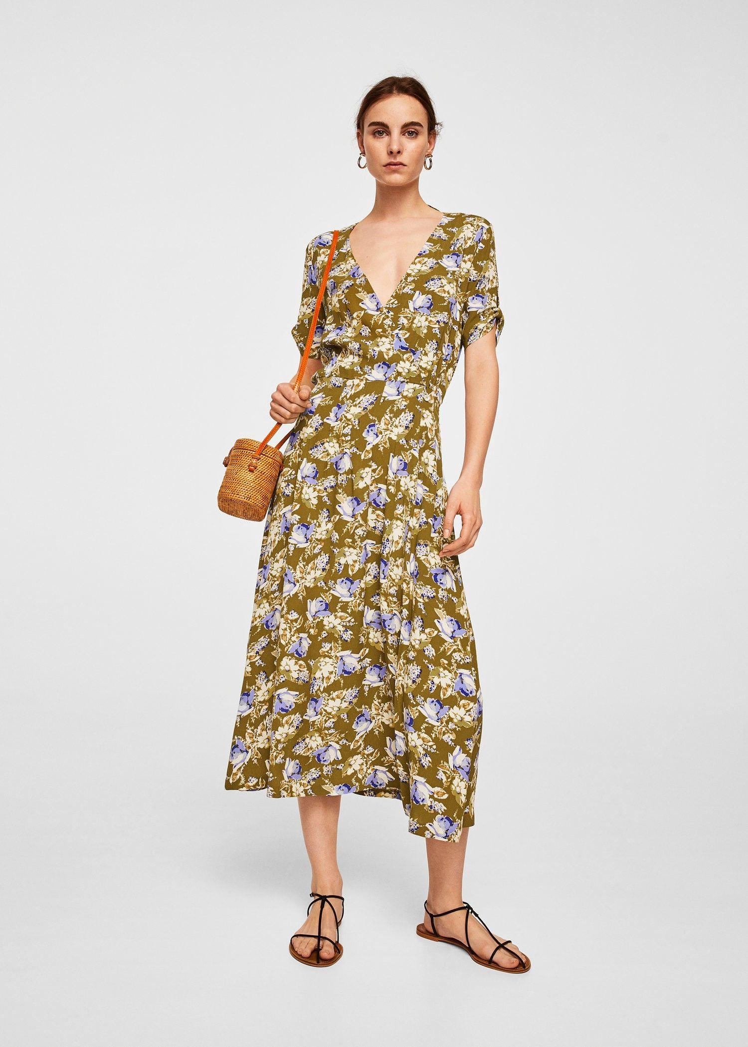 2dd84b916f7ff Mango Floral Wrap Neckline Dress - 8 Robes Midi, Wrap Dresses, Khaki Dress,