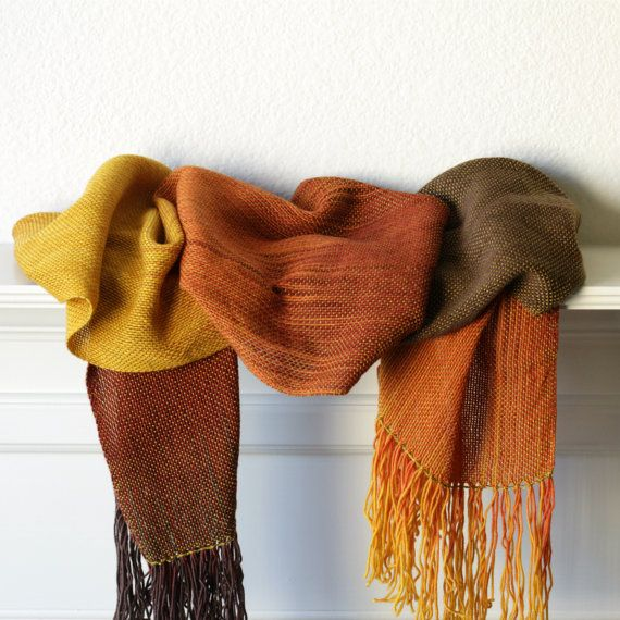 Hand woven scarf gradient color fire brown red yellow by katerynaG, $95.00