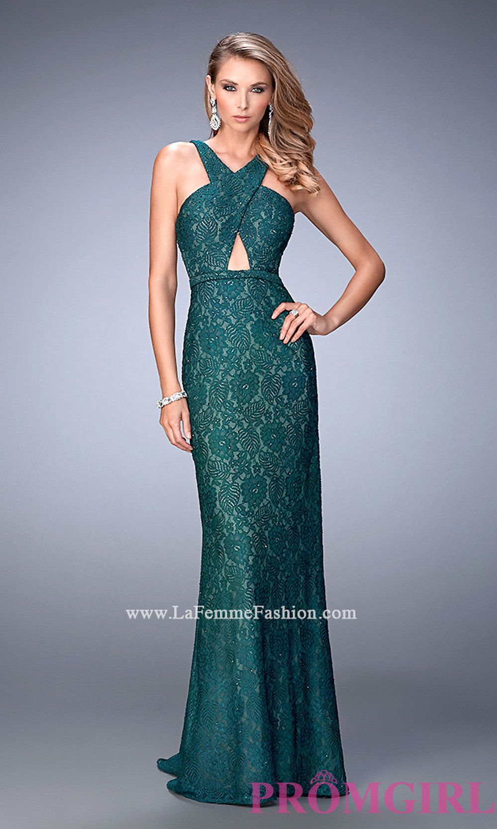 Lace long open back la femme prom dress style lf gown