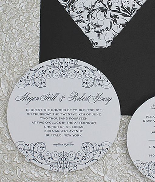 Round Wedding Invitation From Andprint Www Http Templates Black White 18 00