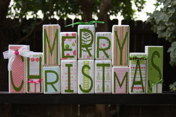 Merry Christmas Holiday Decor Wood Blocks By