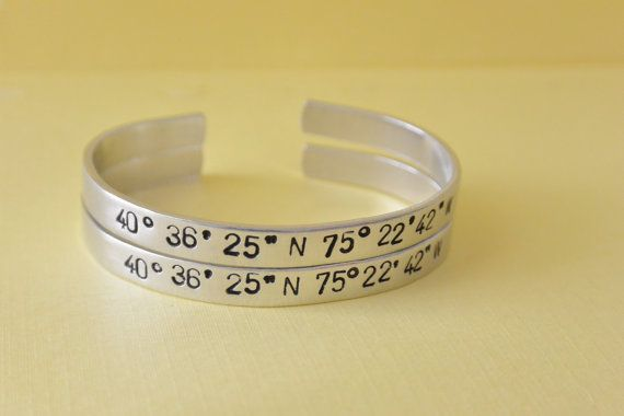 Coordinates bracelets to a special or favorite place to be remembered.