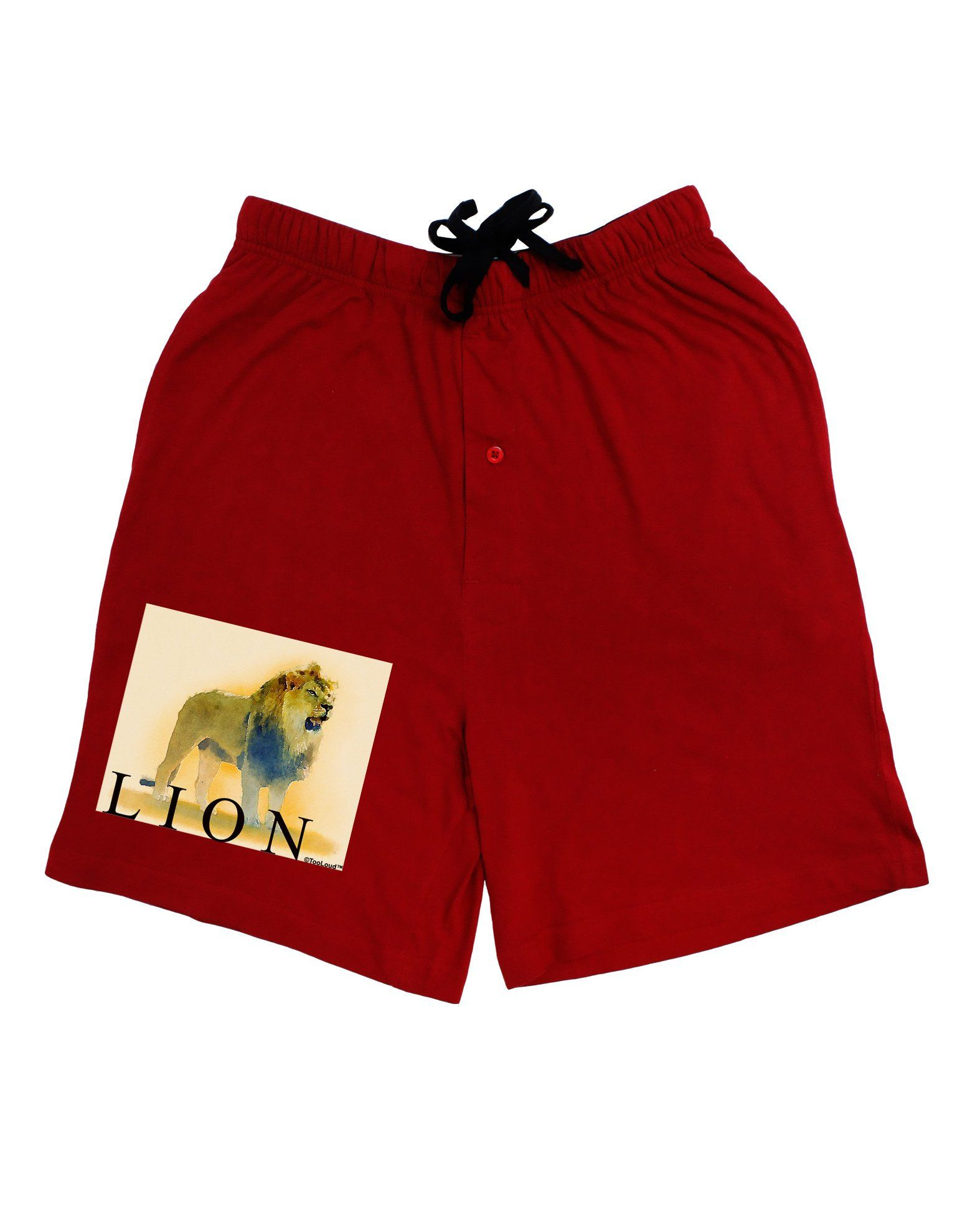 Lion Watercolor 1 Text Adult Lounge Shorts