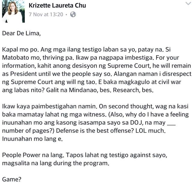 Writer To De Lima Ang Kapal Mo Ikaw Ang Ipapaimbestigahan Namin