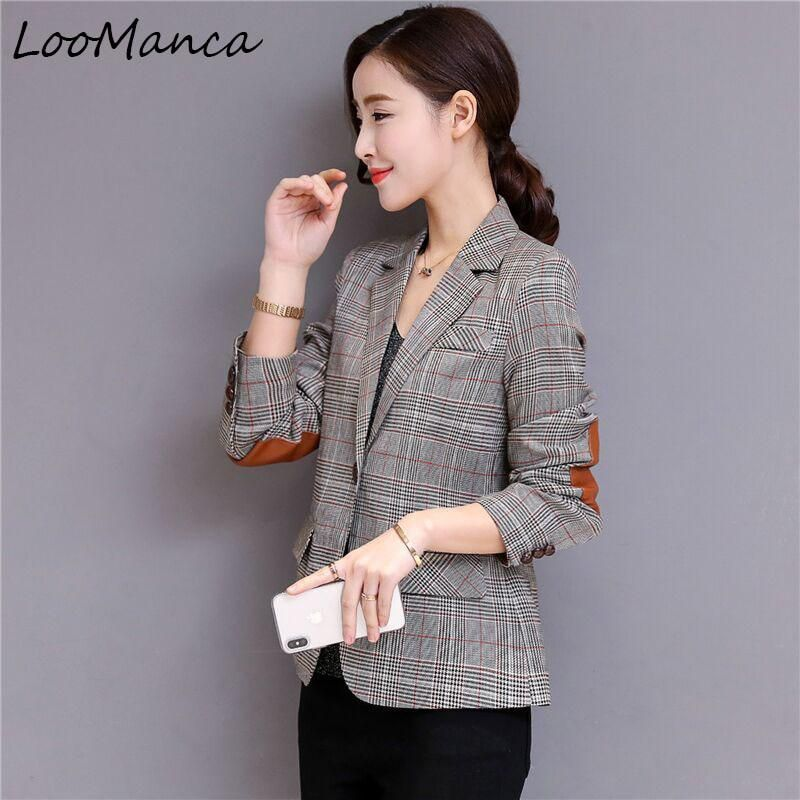 Plaid Blazers Jackets Women 2018 New Autumn Formal Long Sleeve Suit