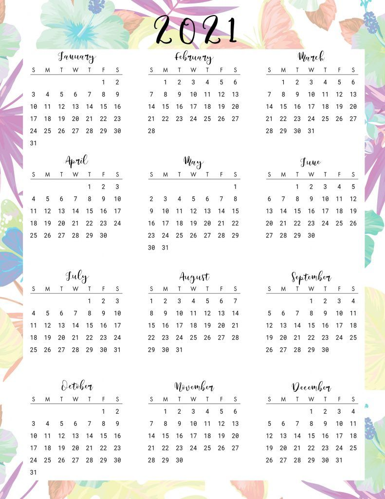 Beautiful Floral Daily Planner Printables With Calendar 2021 in
