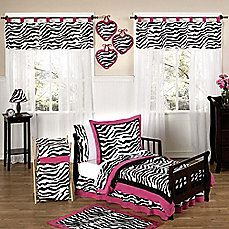 image of Sweet Jojo Designs Funky Zebra Toddler Bedding Collection in Pink