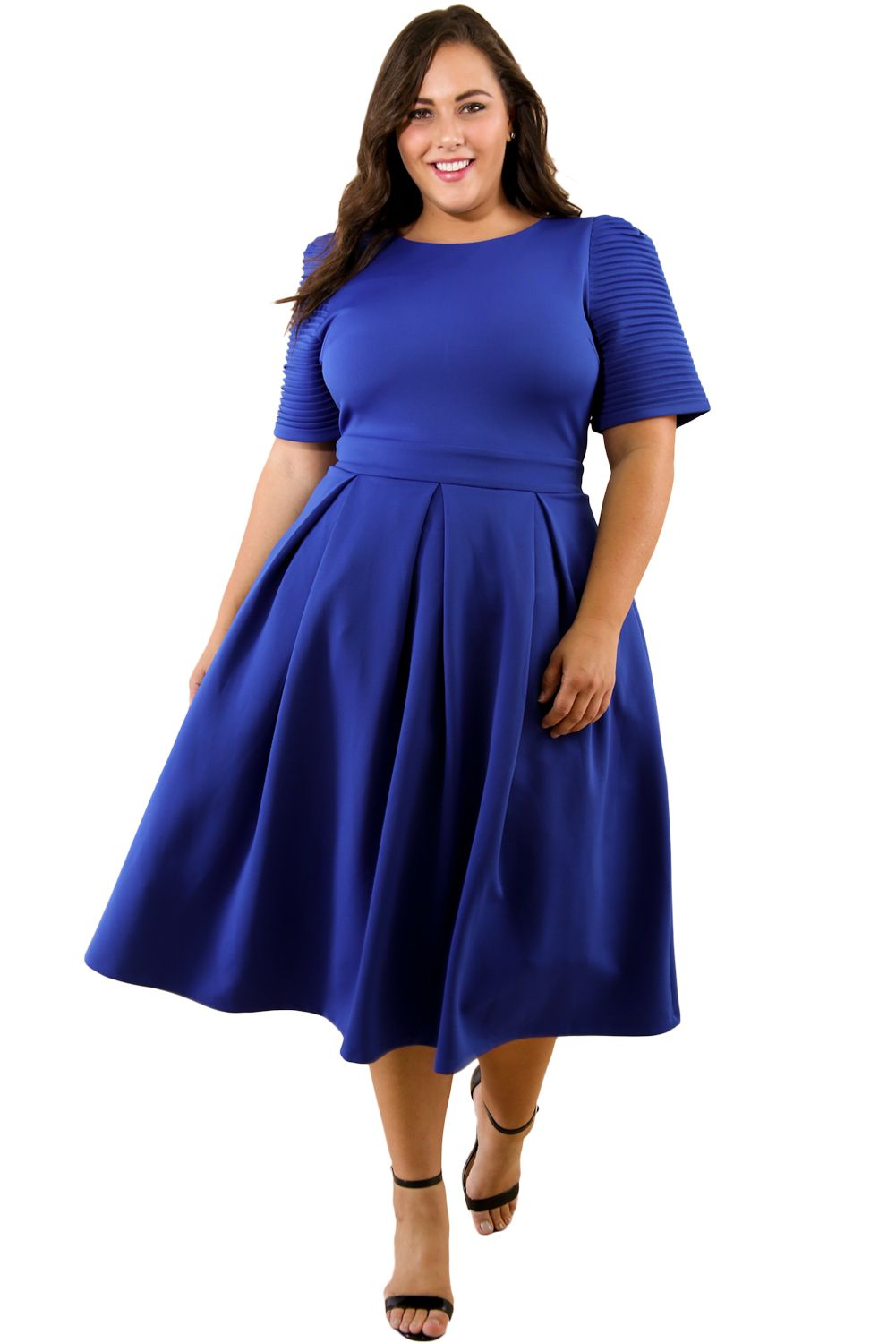 297f6c00cad Blue Plus Size Pleat Flare Dress in 2019