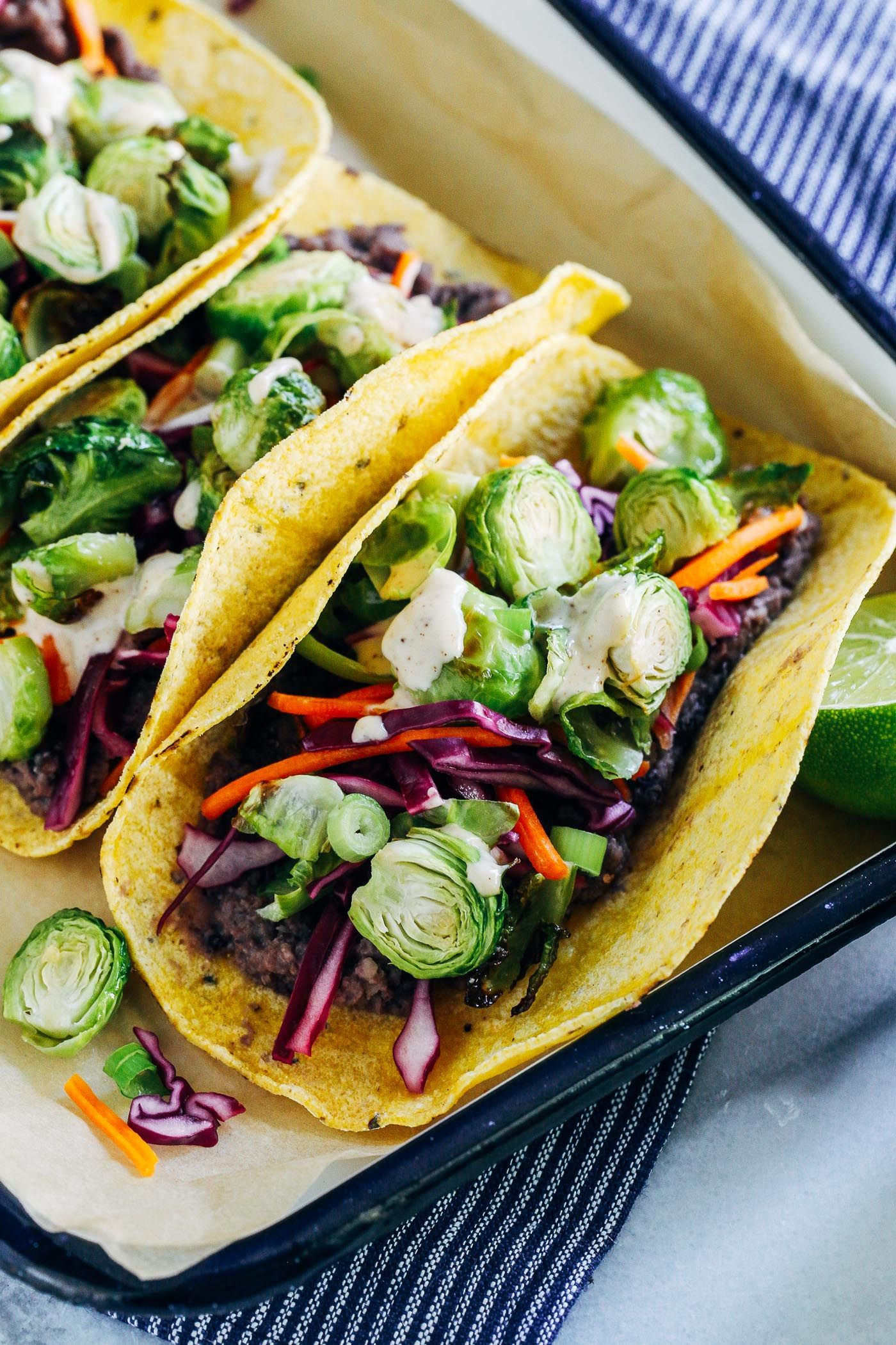 Roasted Brussels Sprout Tacos With Chipotle Aioli By Ohmyveggies Com Recipe Roasted Brussel Sprouts Brussel Sprouts Recipes