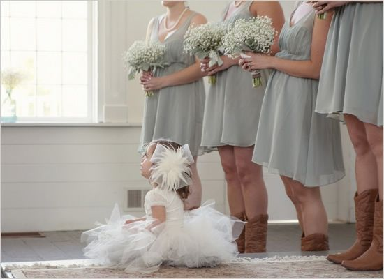 gray bridesmaid dresses with baby's breath bouquets