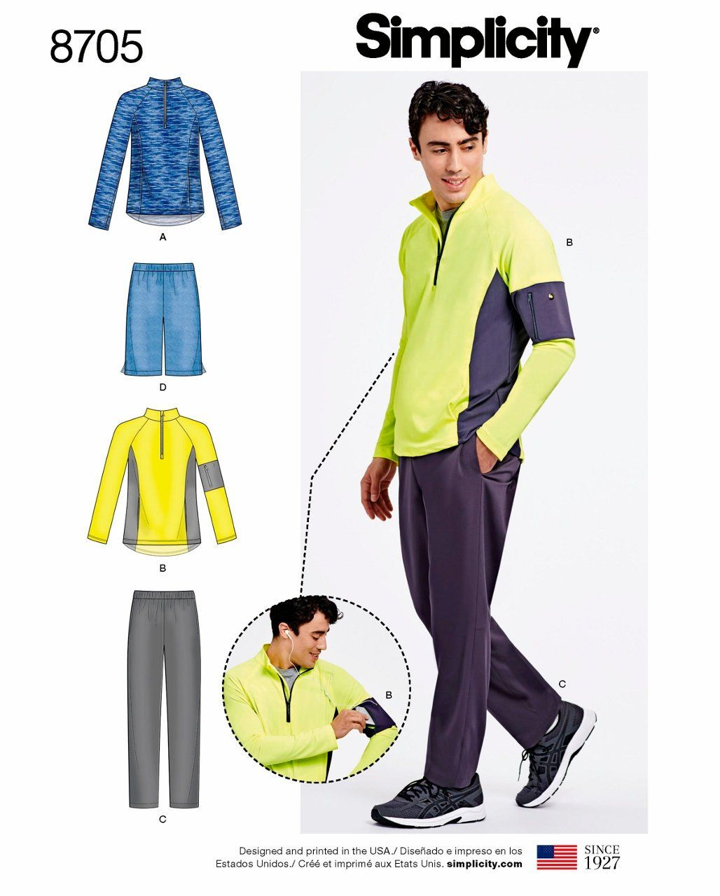 Sewing Pattern Men\'s Activewear Pattern, Men\'s Exercise Wear Pattern ...