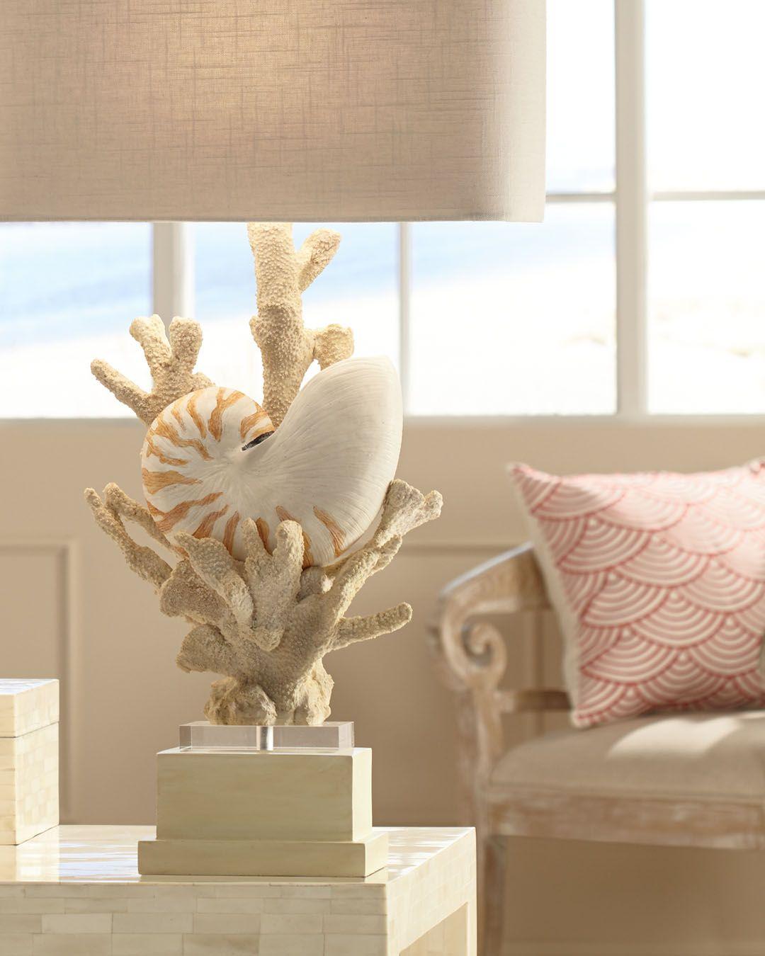 HANAUMA BAY Coastal seashell table lamp by kathy ireland