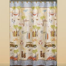 Kids Bathroom Hang Ten Fabric Shower Curtain Bed Bath Beyond