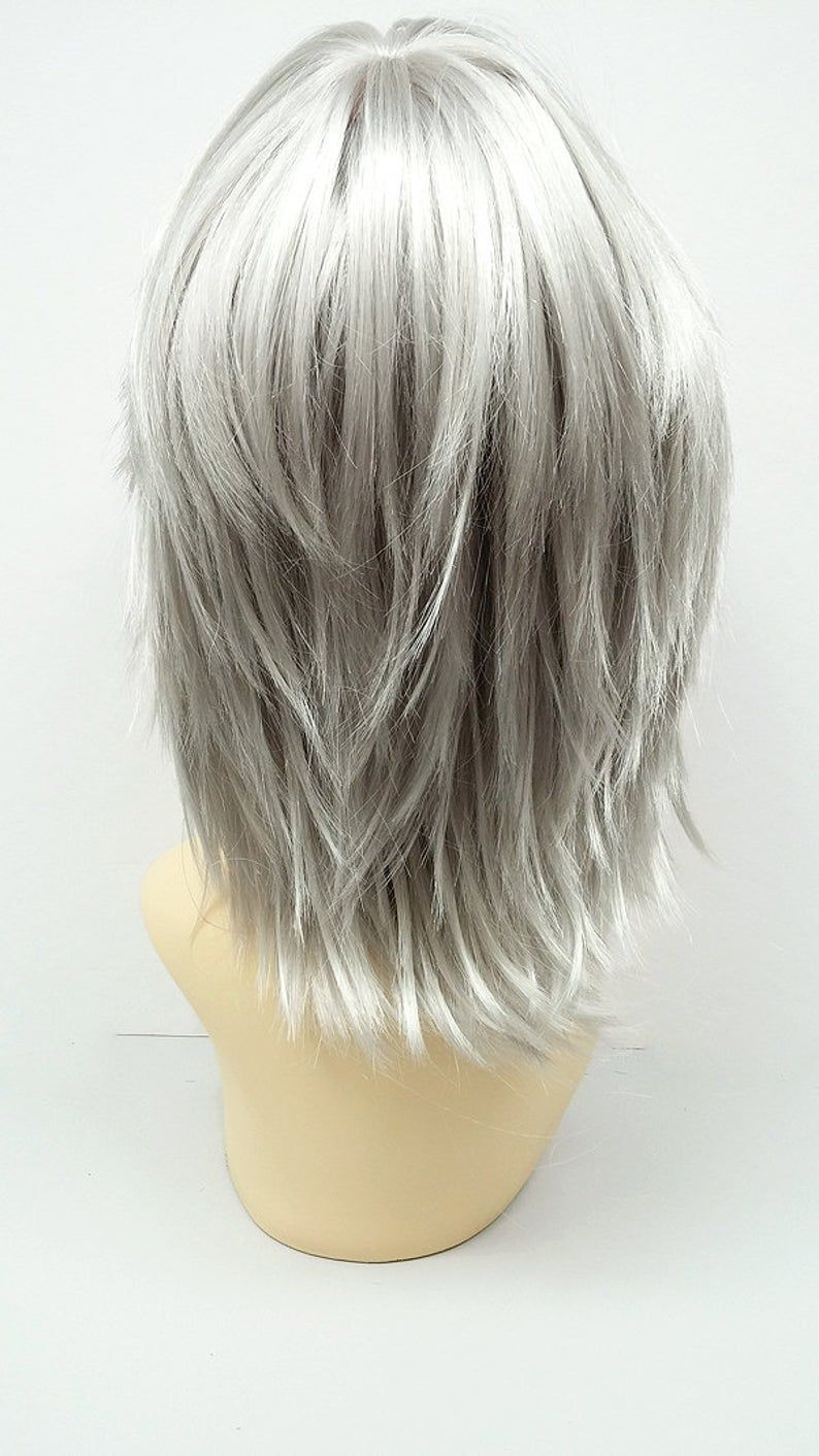 12 inch silver grey shag style wig straight and layered w