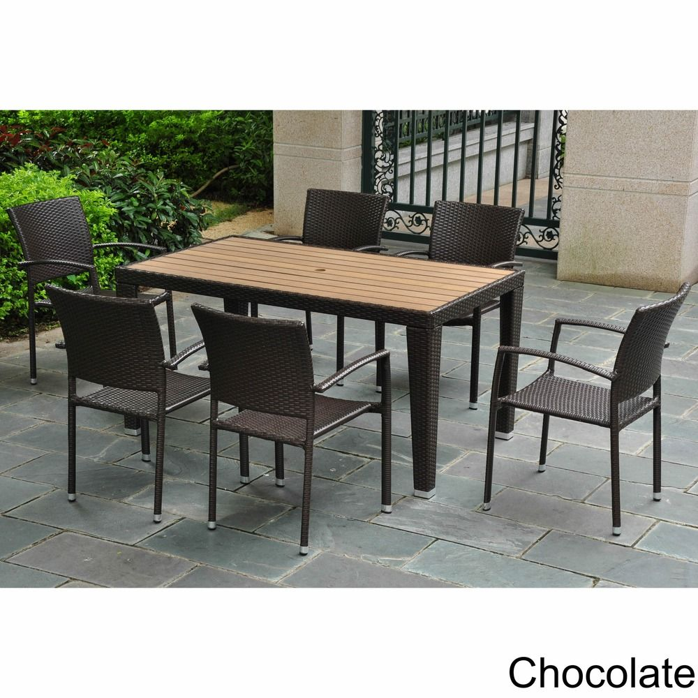 International Caravan Resin Wicker Aluminum 7 piece Patio Dining Set