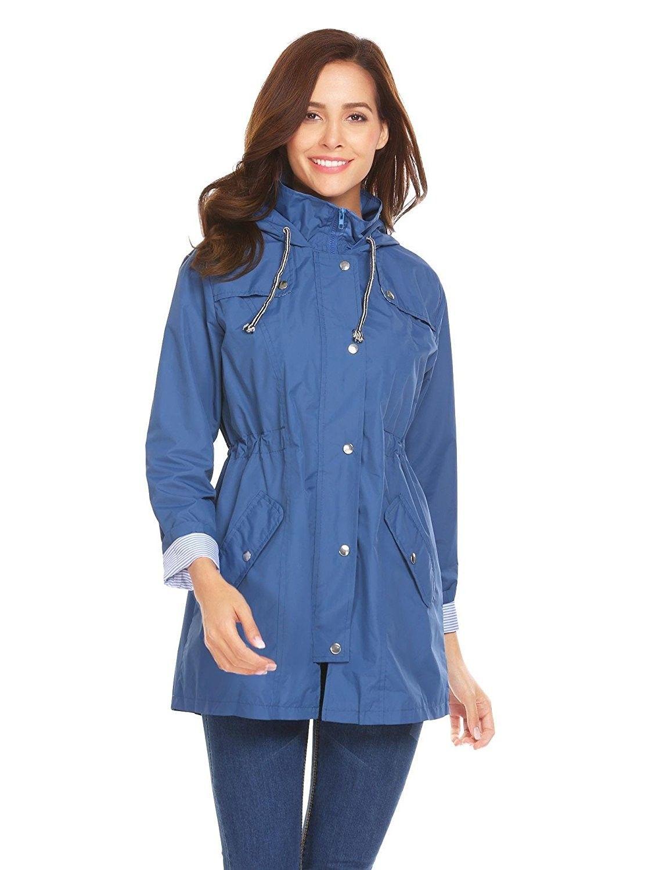 01bc5d49237 Women Casual Lightweight Long Sleeve Hooded Raincoat Waterproof ...