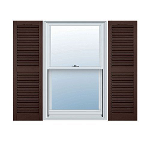 15 Inch X 35 Inch Standard Louver Exterior Vinyl Window Shutters Sienna Brown Pair Color Sienna Louvered Shutters Raised Panel Shutters Exterior Vinyl Shutters