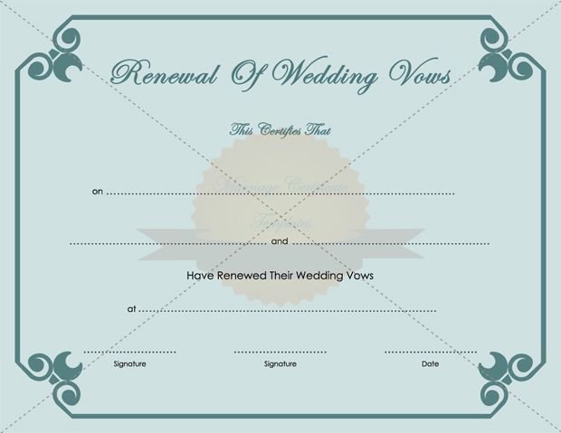 Marriage Vows Renewal Certificate Template