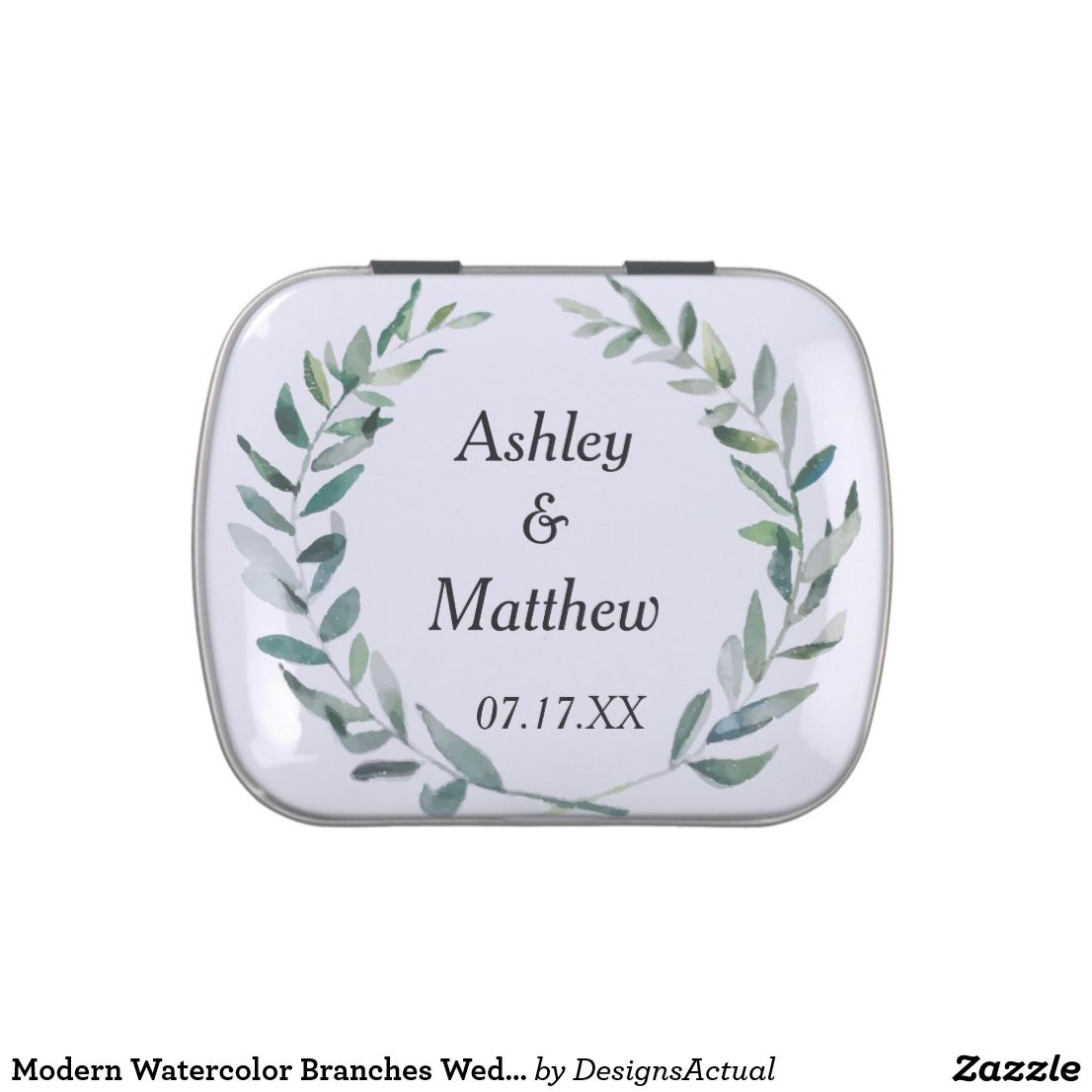 Modern Watercolor Branches Wedding Favor Candy Tin