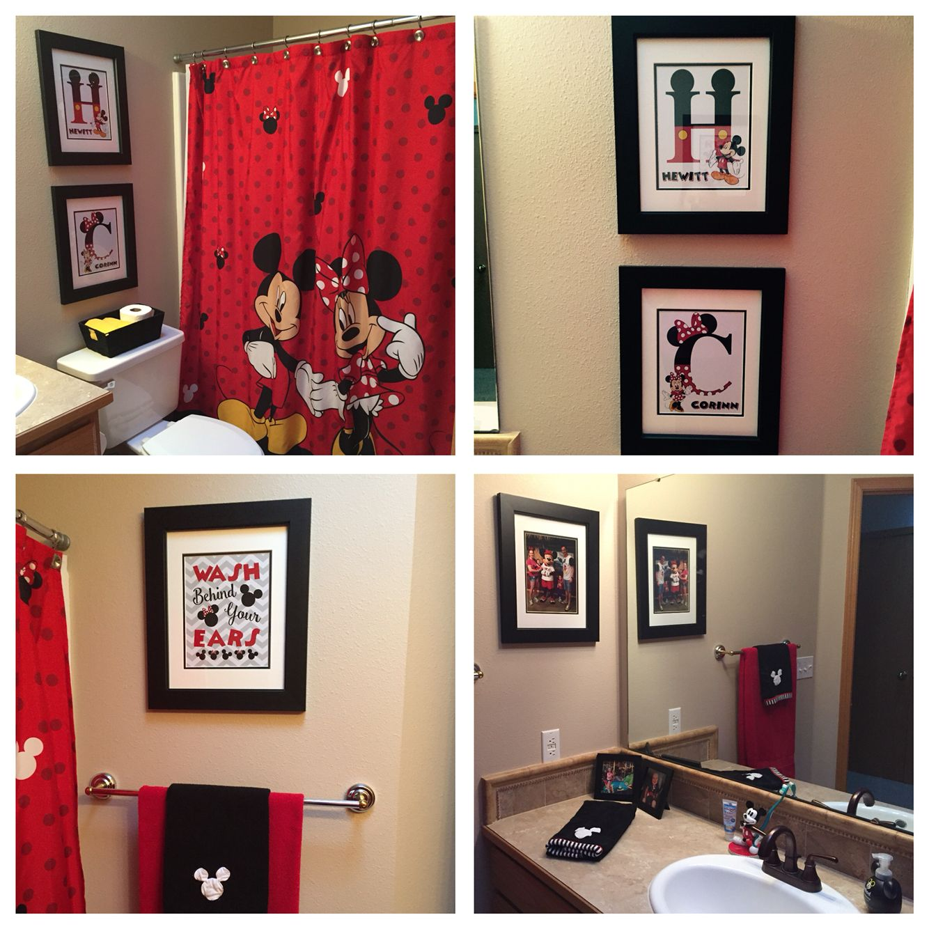 Mickey Mouse Bathroom Ideas Inspiration Mickey And Minnie Mouse Bathroom Complete Diy Artwork Shower Design Inspiration