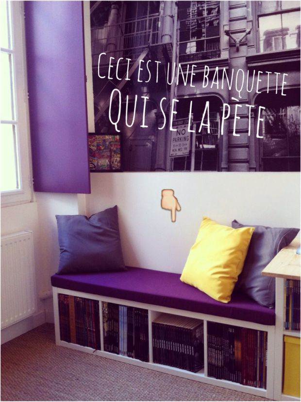 Une banquette diy avec kallax 4s cases chang 39 e 3 and mousse for Meuble kallax blanc