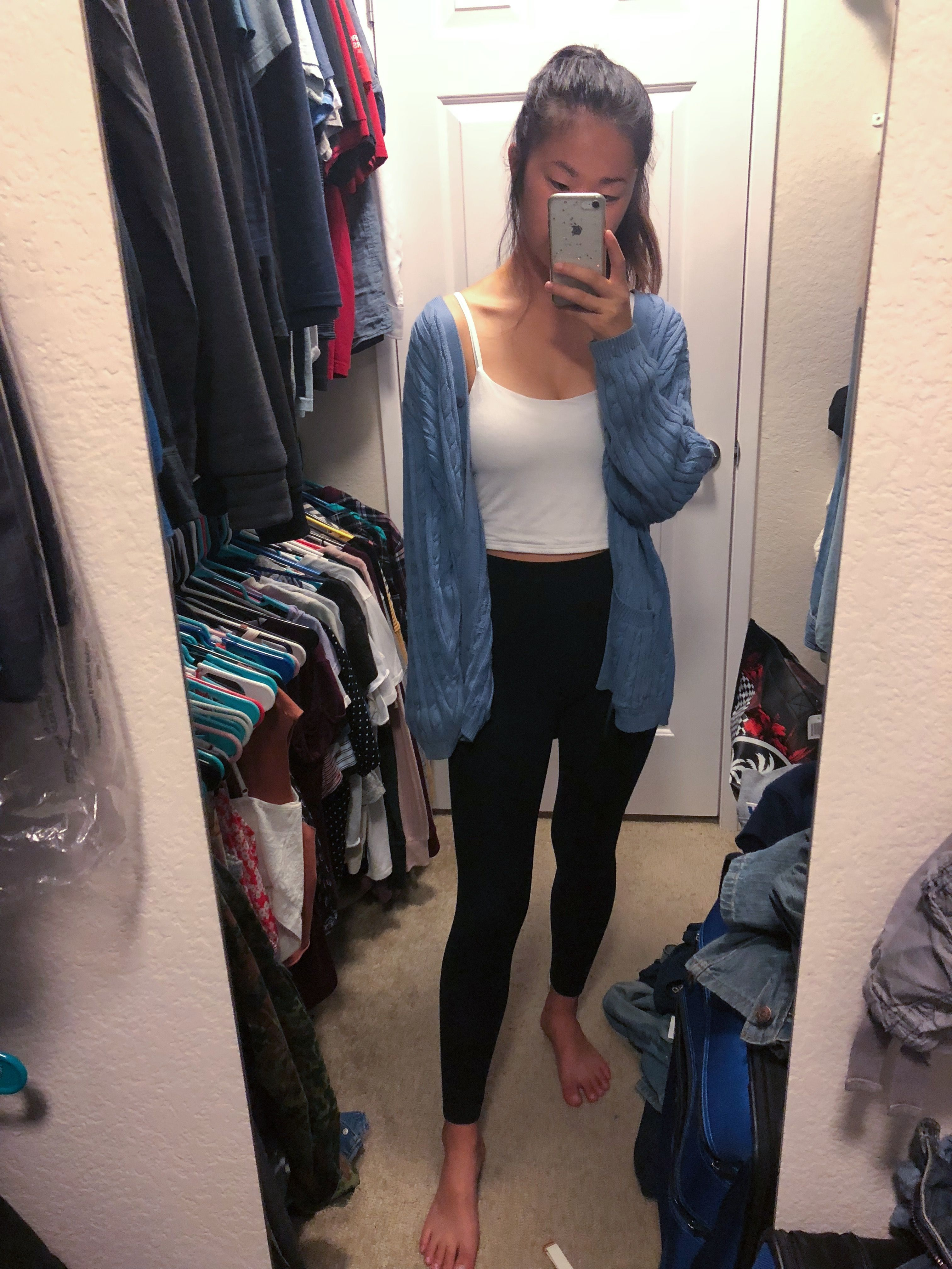 Lazy Day Outfit Leggings Crop Tank Top Oversized Cardigan