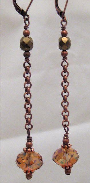 Copper chain drop earrings