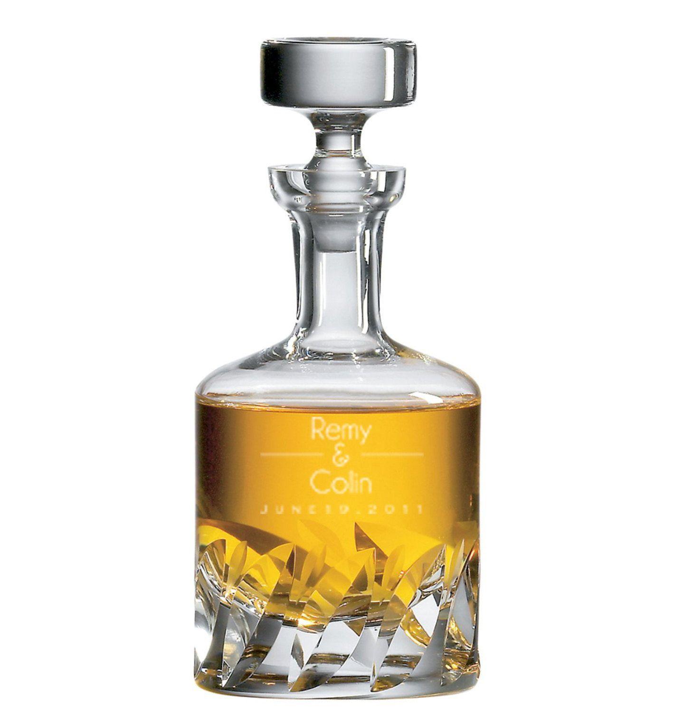 Large Beveled Detail Whiskey Decanter Scotch Gl Custom Engraved Modern Design Holds 34 Ounces