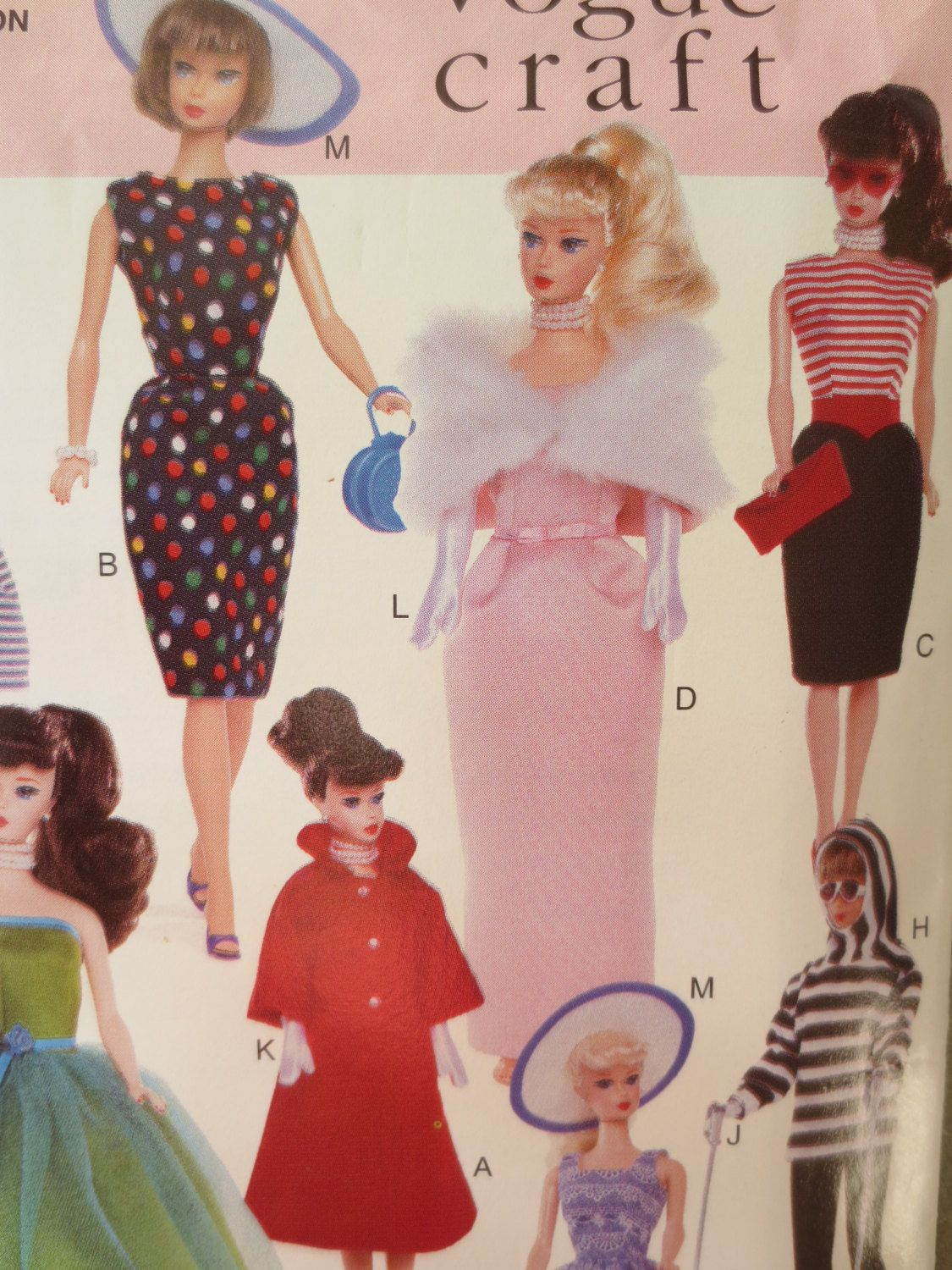 Vogue 9686 Sewing Pattern, Doll Clothes Pattern, 1990s Fashion Doll ...