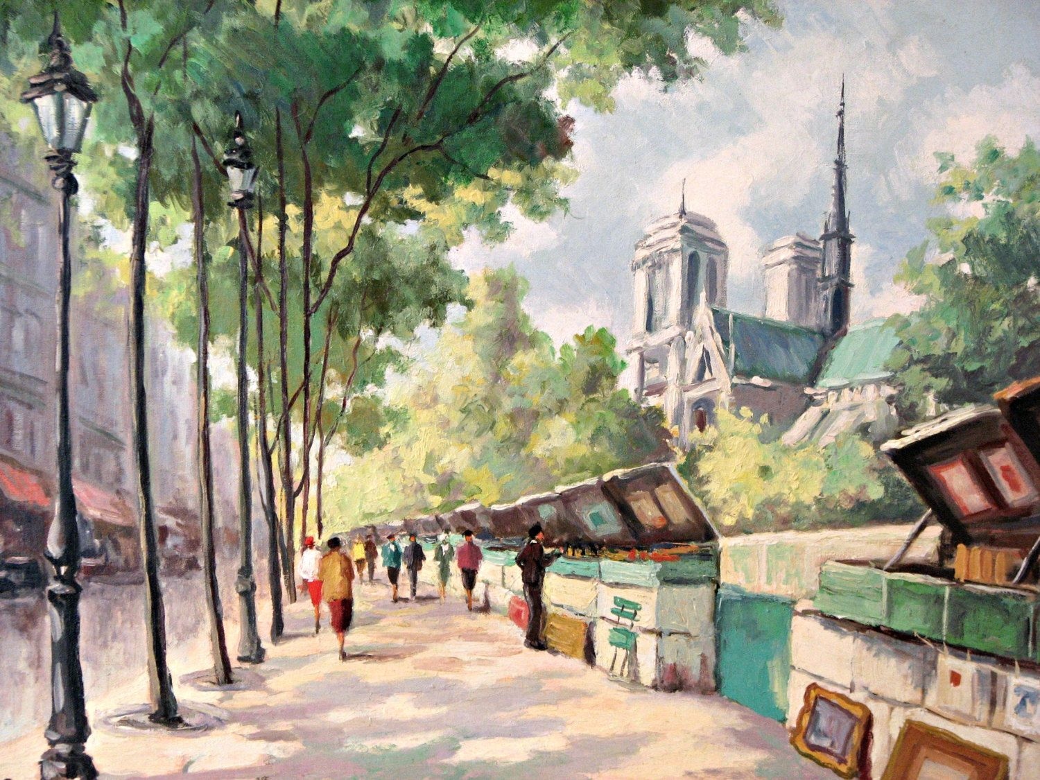 Paris Acrylic Painting Hard To Read Signature Beautiful Colors