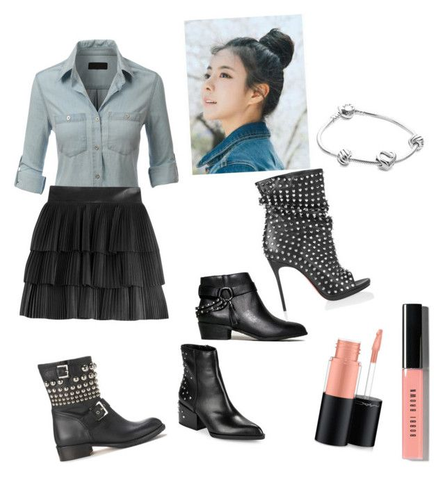 """""""Sunday affair"""" by teelove06 ❤ liked on Polyvore featuring LE3NO, Balmain, Chinese Laundry, Circus By Sam Edelman, RED Valentino, Christian Louboutin, pinkage, MAC Cosmetics, Bobbi Brown Cosmetics and Pandora"""