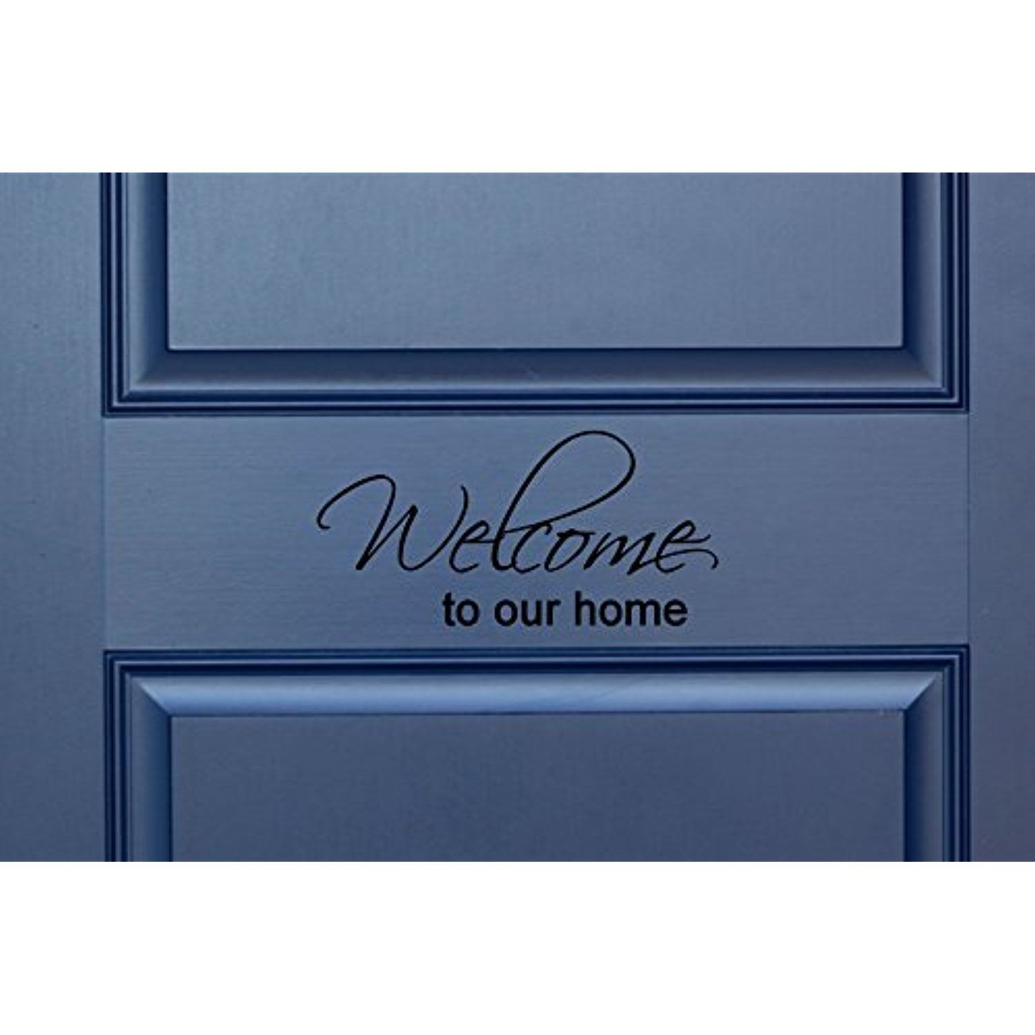 Welcome to our home in cursive indooroutdoor lettering wall art