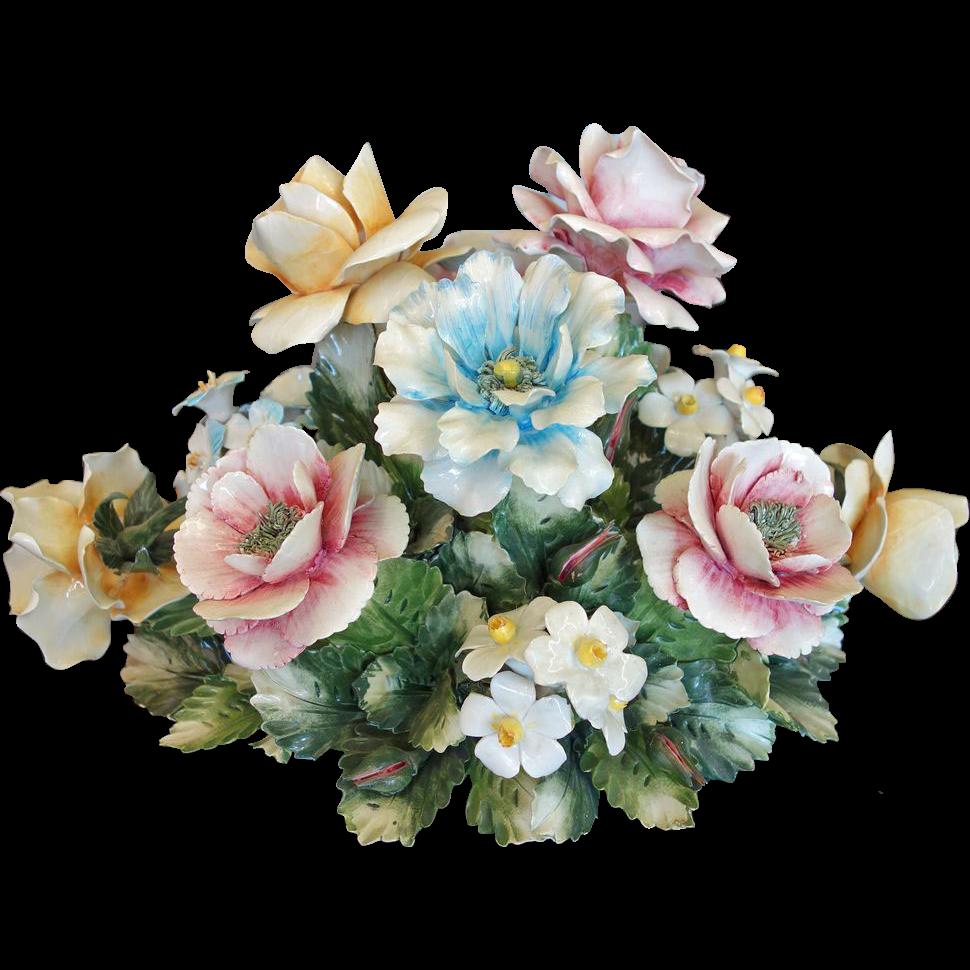 Porcelain Capo Di Monte Floral Centerpiece Vintage Diy Artesanato Vintage Vintage