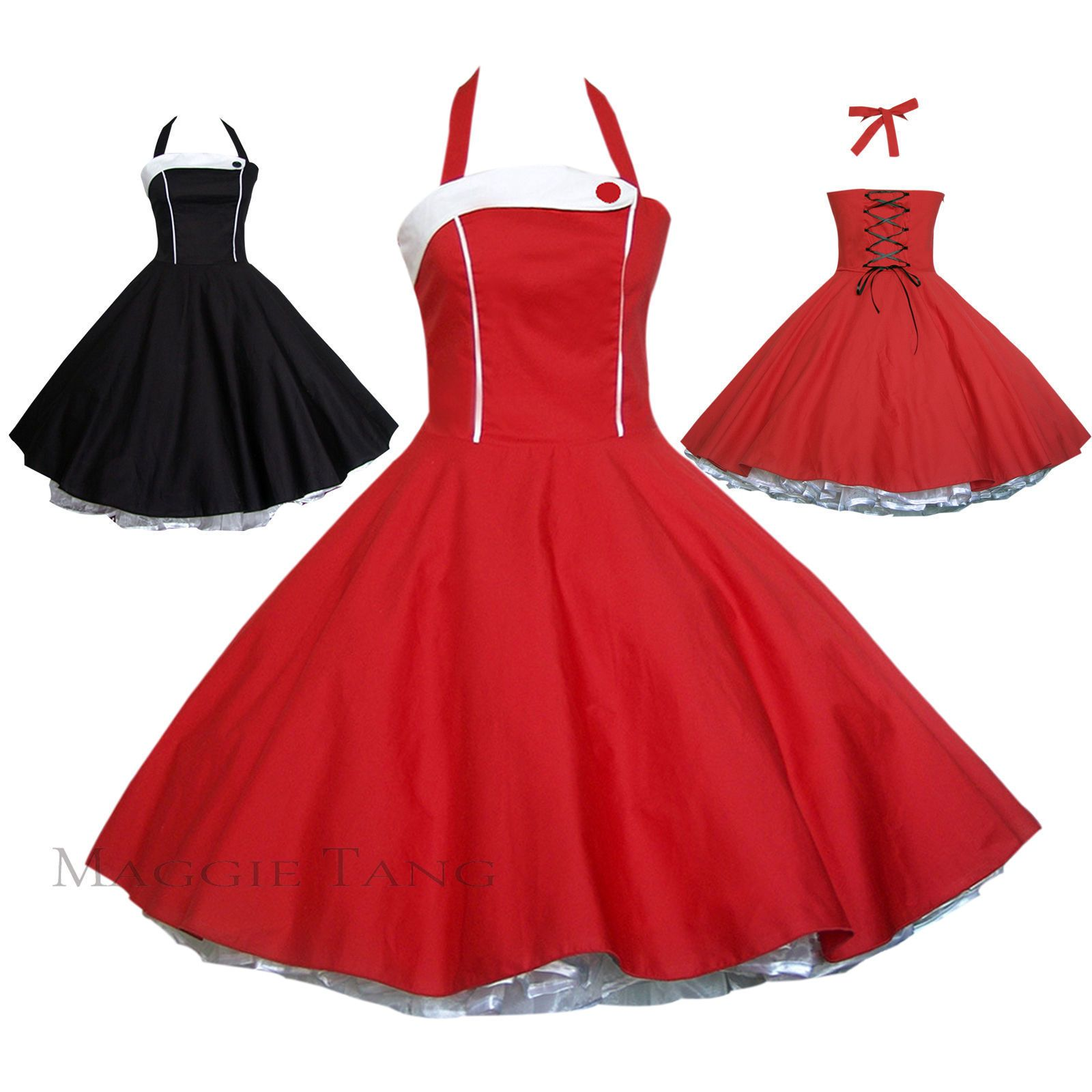Maggie tang s vtg retro pinup housewife rockabilly black red swing