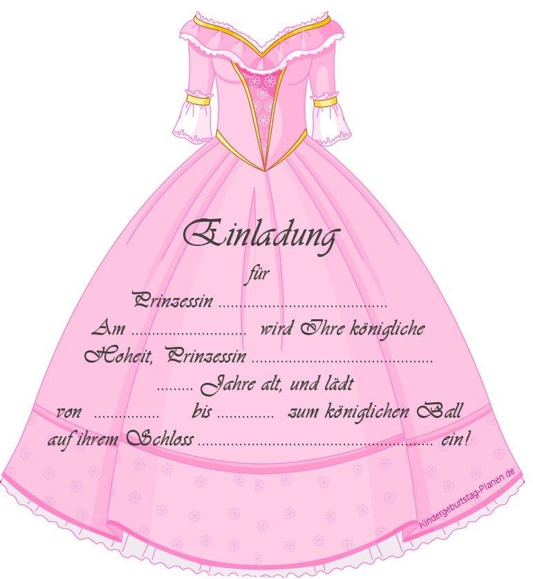 einladung für kindergeburtstage | prinzessinparty | pinterest, Einladung