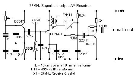 27mhz superhet am receiver electronic in 2019 simple circuit  aerial booster circuit diagram for citizens band project #3