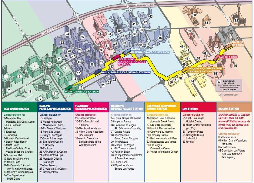 Monorail Map Las vegas hotels