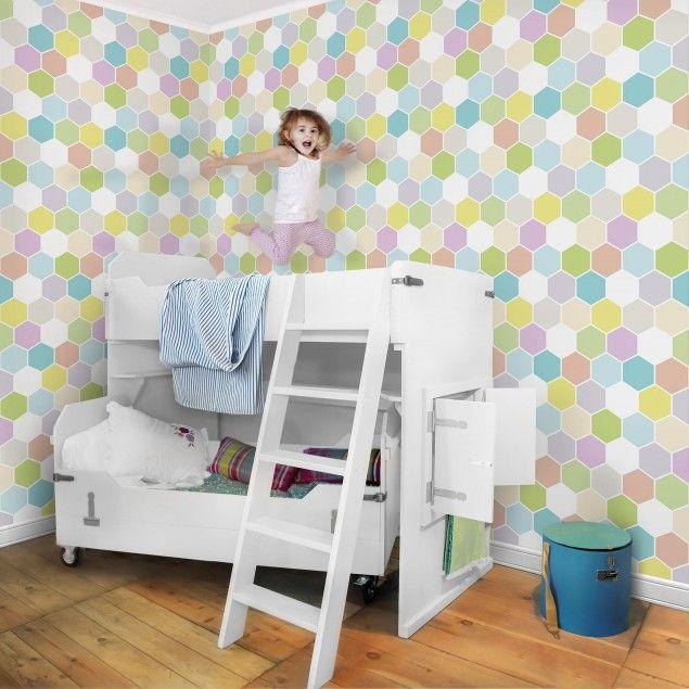 Mustertapete für Kinderzimmer - NoYK52 Sechseck Pastell - wandgestaltung streifen ideen