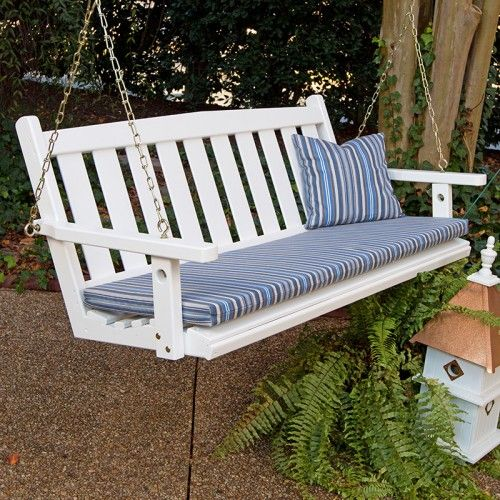 Porchgate Amish Made Mission White Porch Swing With Chains