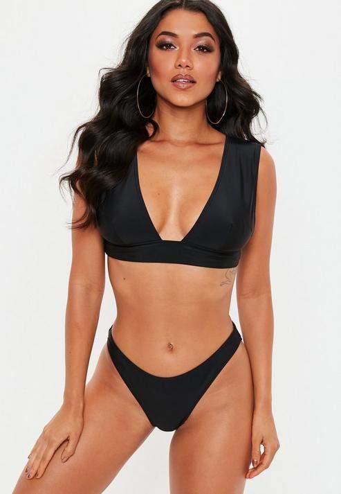 998229a67d0 Missguided Black Mix And Match Super Plunge Bikini Top in 2019 ...