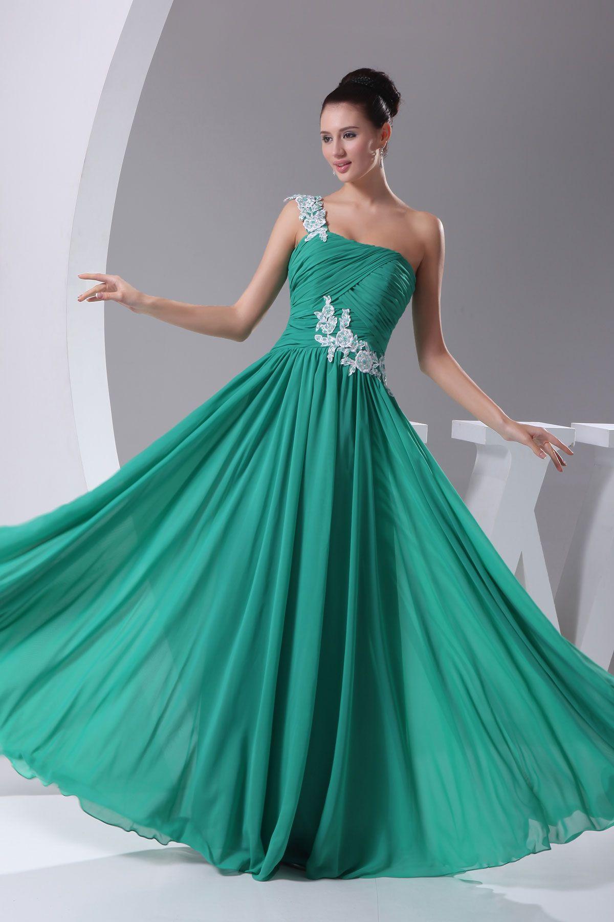 Teal Floor-Length One Shoulder Chiffon Zipper Prom Dress ...