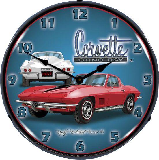 1967 Corvette Stingray Wall Clock Chevy Mall Corvette Stingray 1967 Corvette Stingray Corvette Clock