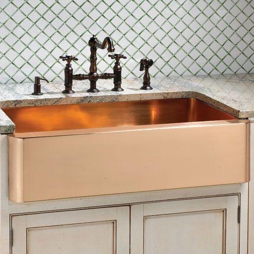 Polished Copper Apron Kitchen Sink Casas Interiores Cocinas