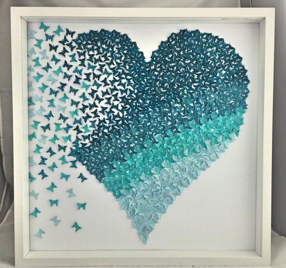 Ombre Shades Of Teal Paper Butterflies Heart Contemprory Room Deocr Butterfly Wall Art Butterfly Decorations Butterfly Wall Decor