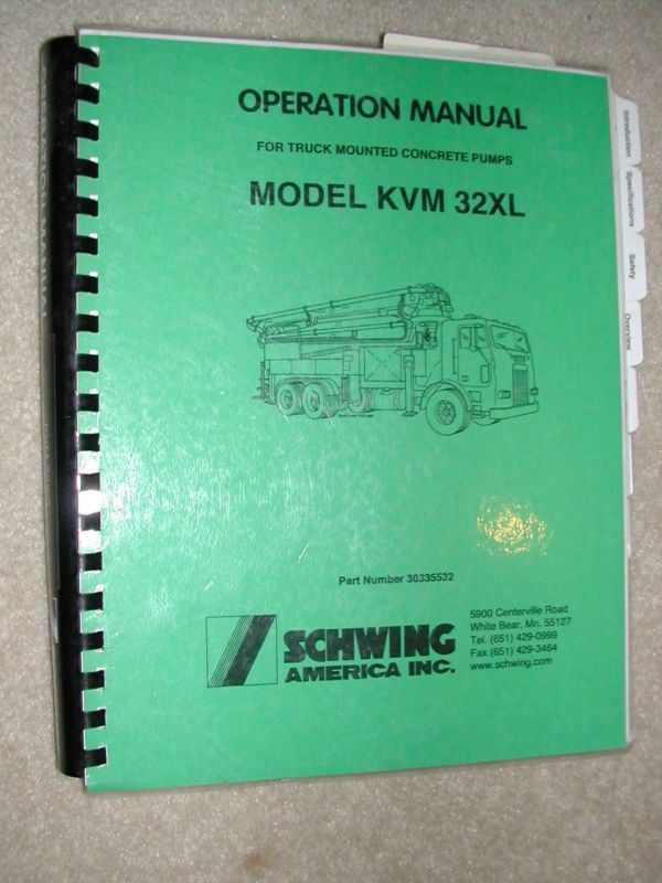 Schwing Kvm Xl Concrete Pump Service Operation Manual Operator