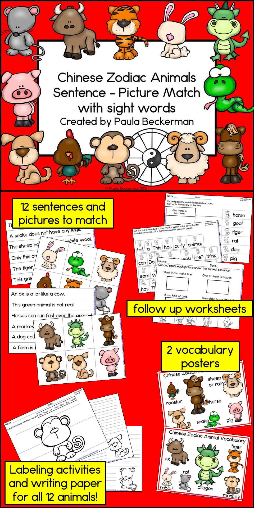 b075b0fe0 Perfect for Chinese New Year, this set of 12 sentences and picture to match  is a quick, easy, and fun literacy center for your primary grade students.